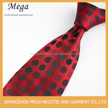 100% polyester woven fabric red background and black dots necktie for bridegroom