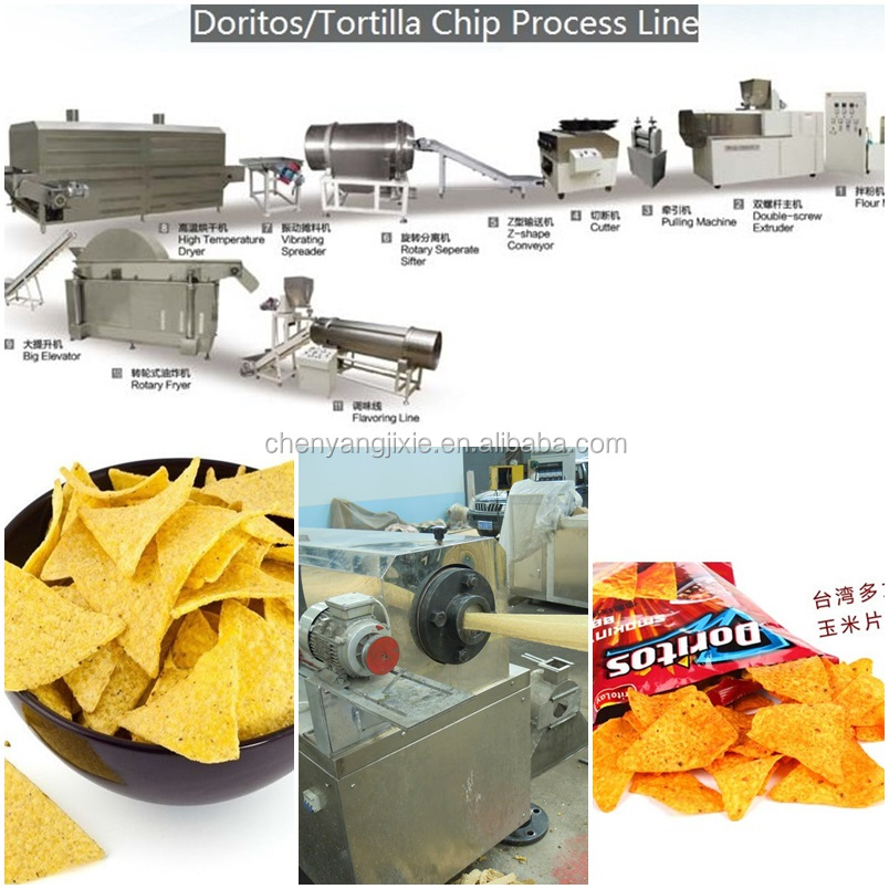 2014 Fully tortilla doritos corn chips food making machine/processing assembly line with fryer