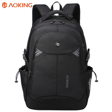 Aoking Brand Black Laptop Daily Backpack with reflective tap Men Computer Mochila Polyester Waterproof School Bags Men Backpack