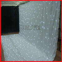 HOT WLK-2W White fireproof Velvet cloth White leds backdrop star curtain wedding decoration stage