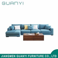 Living Room Sofa with Wood Legs Modern Blue Fabric Sofa Set for living room furniture