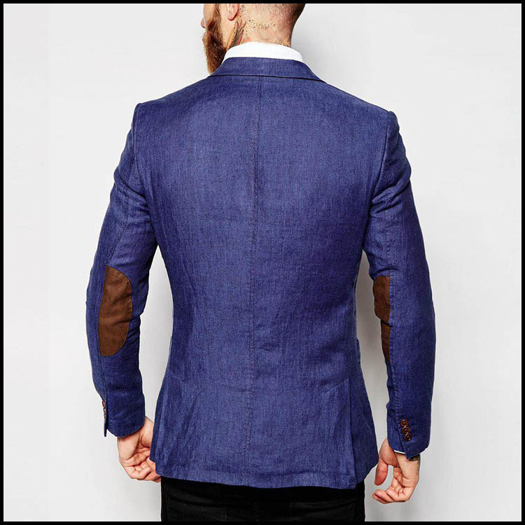 Custom Fashion Design cotton faibic Daily Sports Coat Men Blue Blazer