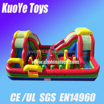 obstacle slide games children playground inflatable funcity inflatable trampoline