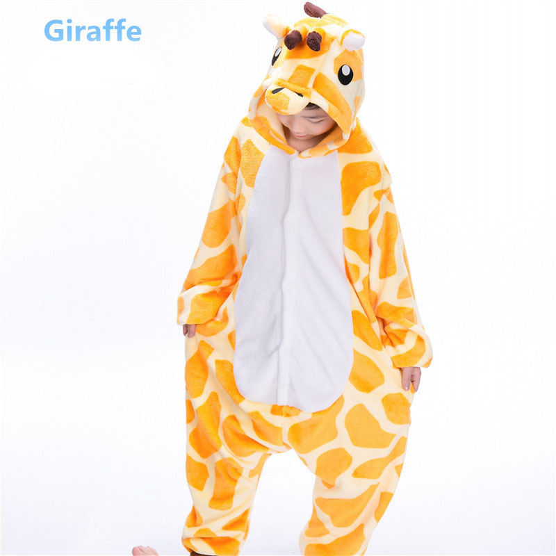 Kids Pajamas With Butt Flap Pockets Kigurumi Plush Onesie Hooded Animal Cosplay Costume Onesie Jumpsuit