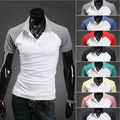 New Men's Fashion Slim Fit Short Sleeve Candy Color Lapel Shirt T-shirts Casual Wear 6 Colors plus Sizes 17234