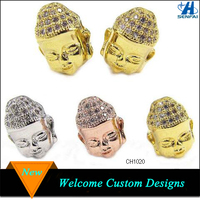 Yiwu Factory Wholesale Silver and Gold New Pave Diamond Buddha Head Micro Pave Beads