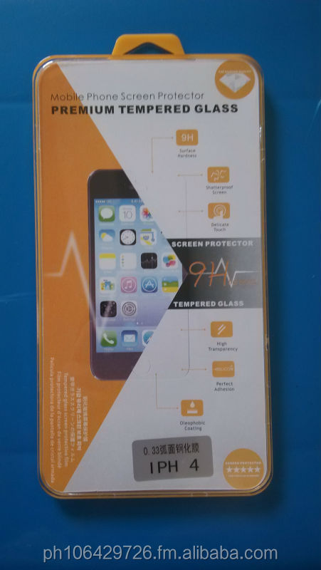 H9 Tempered glass screen guard protector straight plain edge iphone4/5