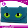 light blue fancy cat face green eyes shape designer cartoon lady beautiful wallets with magnet snap closure
