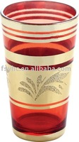 6 OZ Golden Glass Cup,6pcs glass ware ,glassware with clolour on the body