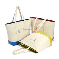 plain color 28oz canvas shopping shoulder bag with cotton rope, fresh canvas tote zipper bag with PU bottom