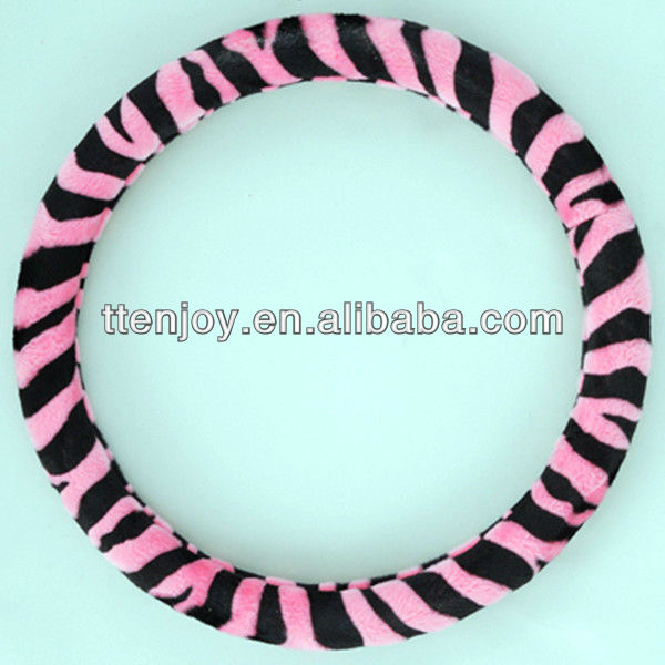Zebra-stripe Pink Velour Car Steering Wheel Cover EJ6007