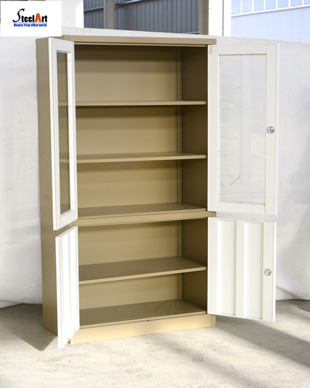 Hospital furniture for metal with glass doors medical apparatus cabinet storage