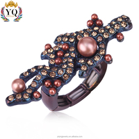 RYQ-00329 Modern adjustable style black imitation pink pearl gemstone ring