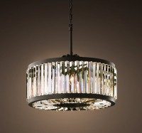 WELLES CLEAR CRYSTAL SMALL ROUND IRON CRYSTAL CHANDELIER
