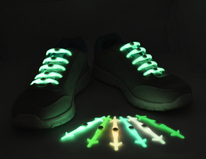 2017 hot sale fashion universal lazy no tie glow color silicone elastic shoelace for night running, KTV, Vocal concert occasions