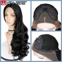 28 Inches Lace Front Long Body Wave Natural Black Perm Yaki Synthetic Hair Wigs For Black Women China Wholesale Price