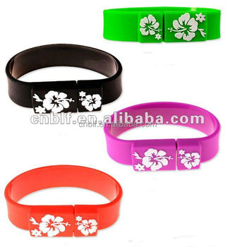 New printing personalized brand new silicone wristband flash drive usb bracelet