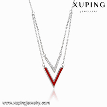 00099 XUPING fashion letter V shaped women arrowhead layered necklace,y necklace