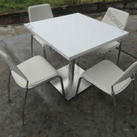 Pure white solid surface dining table top / out door dining table sets