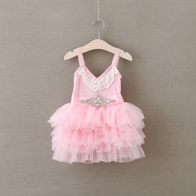 Summer Diamond Blet Lace Dress For Girls Lovely V-neck SlipTulle Dresses children frocks designs