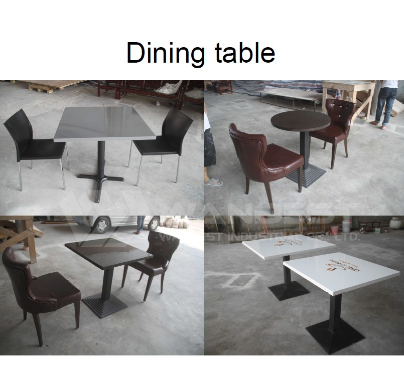 White square artificial marble 2 people solid surface for Table table restaurants locations