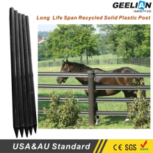 UV Resistant 3 Rails Post and White Black Recycled Plastic Solid Horse Farm Rail Fence