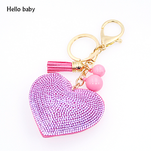 2015 Fashion Jewelry Cute Women Key Chain key Cover Rhinestone Inlaid Leather tassel peach heart Key Cap Gift 10Colors wholesale