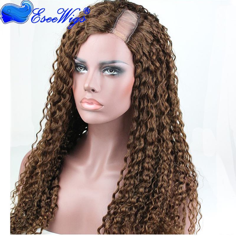 New style virgin brazilian human hair curly side <strong>u</strong> part lace front wig 4# color hair wig
