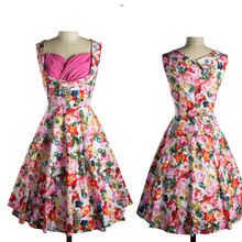 B10606A Summer 1950s 60s Sexy Vintage Retro Vintage Swing Rockabilly Pinup Party Prom wrapped floral Dress