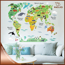 Home decorations Wall stickers Animal World Map Removable Kids Bedroom Stickers