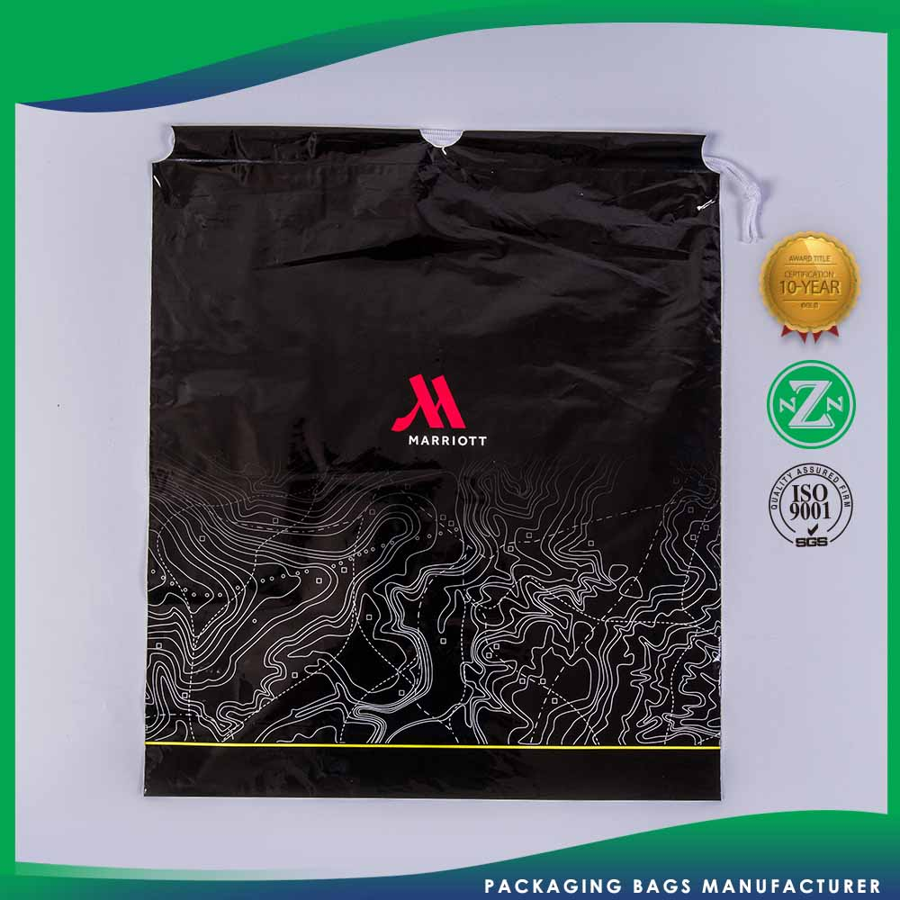Custom Fitted Package Clear Drawstring Laundry Plastic Bag