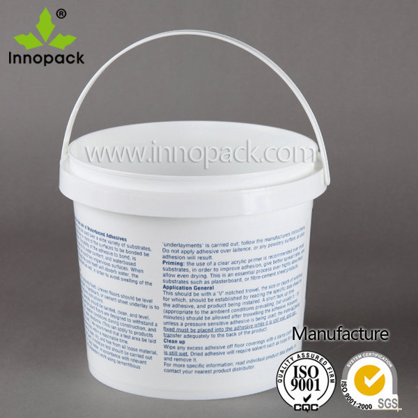 4L/5L PP white plastic container small capacity printed plastic pail food grade plastic bucket for storage