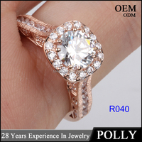China solid jewellry factory price 14K rose gold white AAAAA CZ ring engagement ring