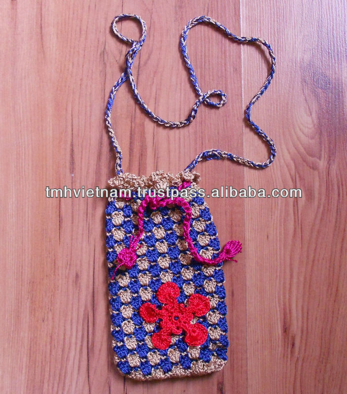 Cotton Yarn Handmade Crochet Mobile phone Pocket bag