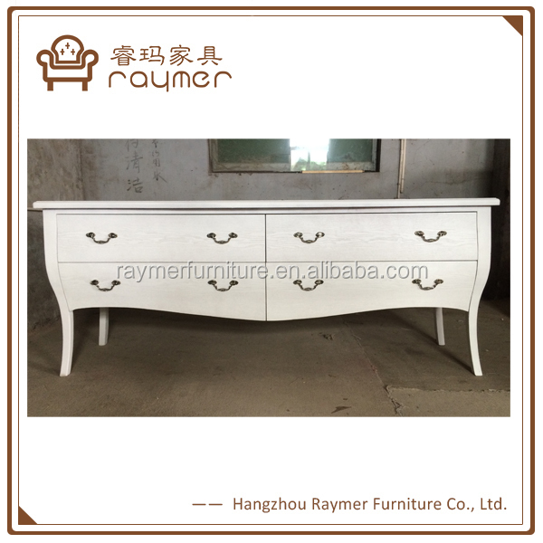 Solid birch wood white finished Nordic style furniture chest of drawer