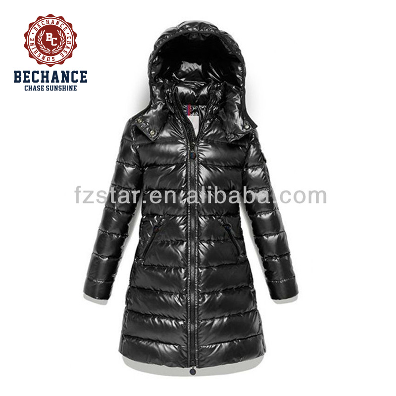 Windproof Quilted Down Jackets Women Shiny Slim Ladies Coats Winter Long style Sexy black color
