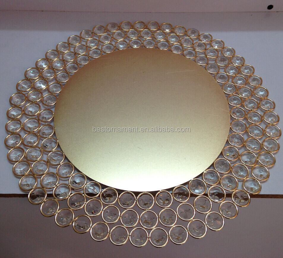 Gold Charger Plates With Crystal Beads Buy Wedding