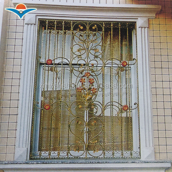 2016 flat top wrought iron window grill design/window grill color
