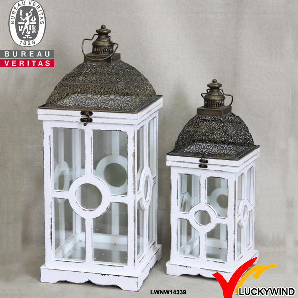 vintage white square wooden and metal lamps and lanterns in set