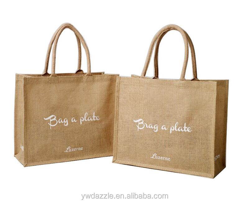 2016 <strong>eco</strong> jute bag screen printed burlap jute shopping bag hessian linen jute bag