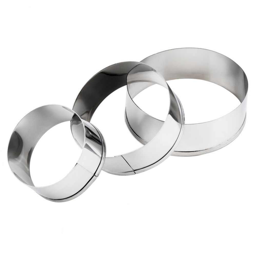 3Pcs Stainless Steel Round Circle Cookie Fondant Cake Paste Mold Cutter tool