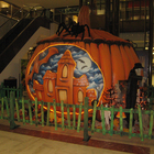 Customized size giant pumpkin house fiberglass sculpture as mall halloween decoration