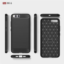 Wholesale Hybrid Carbon Fiber Rugged Armor Silicone Soft Mobile Phone Cover Case for Xiaomi Mi 6