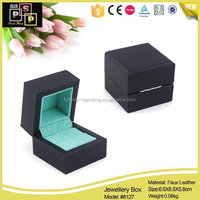 Hello Pink Blue Hinge PU Leather Plastic wholesale ring boxes