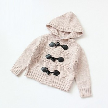Unisex baby hooded cardigan knitting pattern thick sweater ...