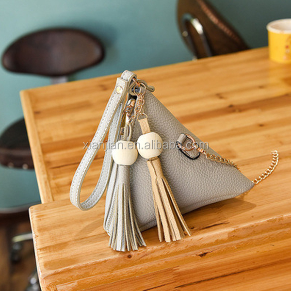 2017 New Arrival Triangle Lantern Cellphone Women Mini Long Chain Tassels Wooden Bead Single-shoulder Crossbody Bag (XJBYT5247)