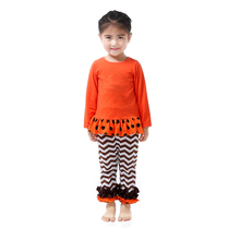 Kids Girls Boutique Orange Ruffle Top With Coffe Chevon Ruffle Pant Outfit Sets, Halloween Children Boutique Outfit