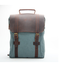 New arrival young men canvas laptop leather backpacks