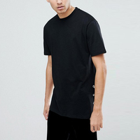 manufacturer clothing classic men's black longline t shirt with split sides
