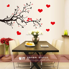 black red birds love wall stickers decals tree branch wallpaper girls women couple valentine home bedroom wedding room decor